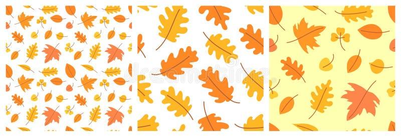 r Безшовный набор картины Лист вектора желтые и оранжевые Scrapbook, упаковочная бумага подарка, ткани Здравствуйте, октябрь иллюстрация вектора