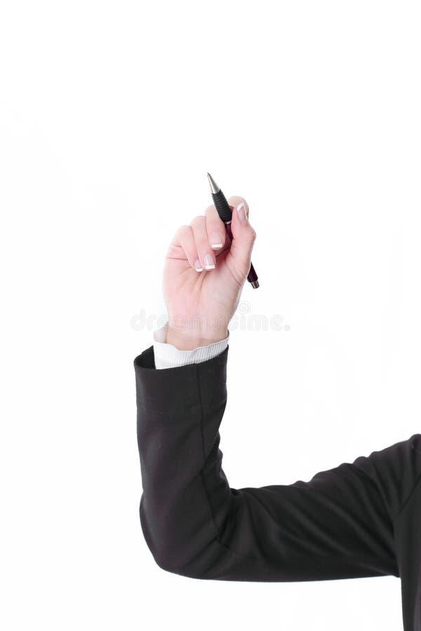 r бизнес-леди указывая карандаш на виртуальный этап стоковые изображения rf