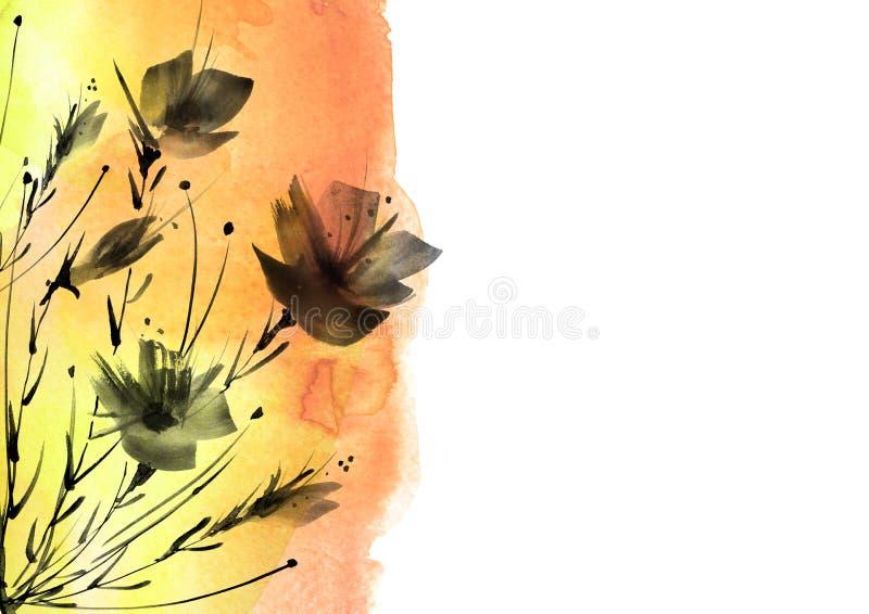 r Букет черных цветков силуэта маков, wildflowers на белой изолированной предпосылке акварель флористическая иллюстрация штока