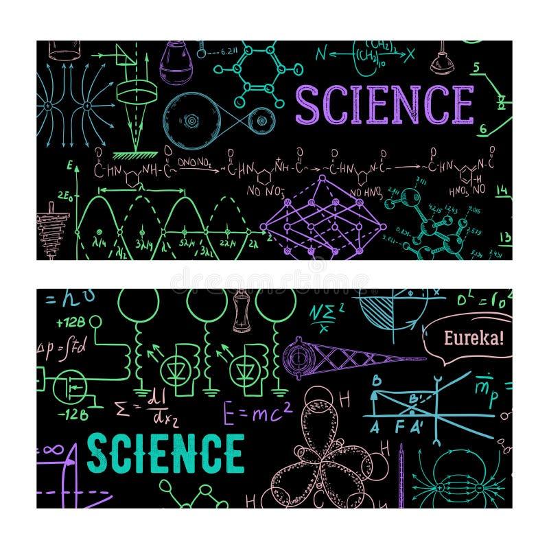 r Винтажное научное оборудование, формулы и элементы Шаблон дизайна для карты, печати, плаката, обоев иллюстрация штока