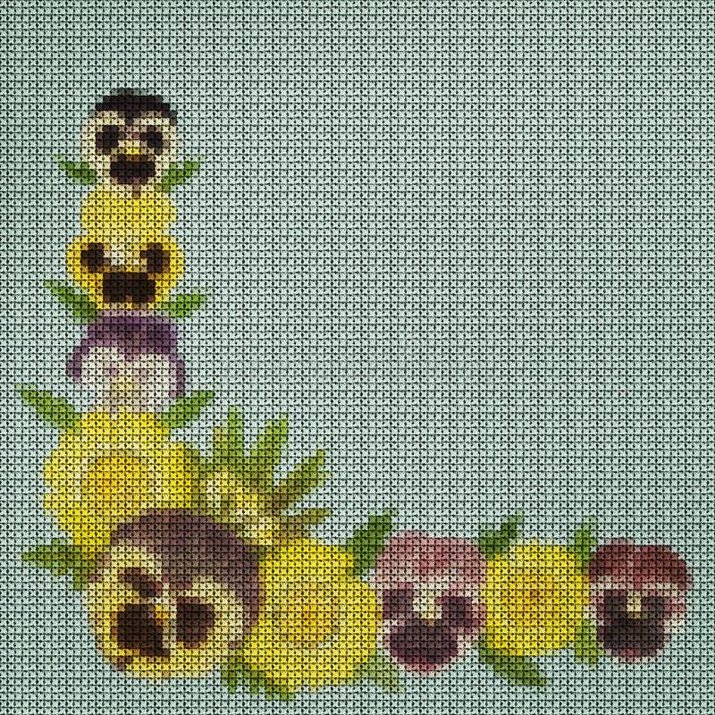 r Вышивка крестиком, букет цветков бесплатная иллюстрация