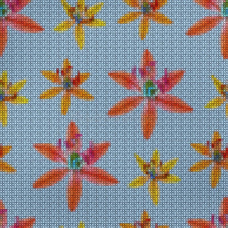 r Вышивка крестиком Bluebell, scilla, первоцветы E иллюстрация вектора