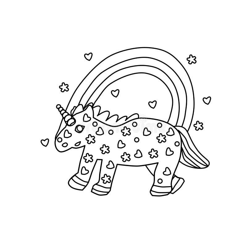 r Единорог и радуга книжка-раскраски Белый чертеж для детей Расцветка детей творческая Характер сказки иллюстрация штока