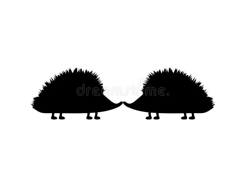r r Ежи целуют на белой предпосылке иллюстрация вектора