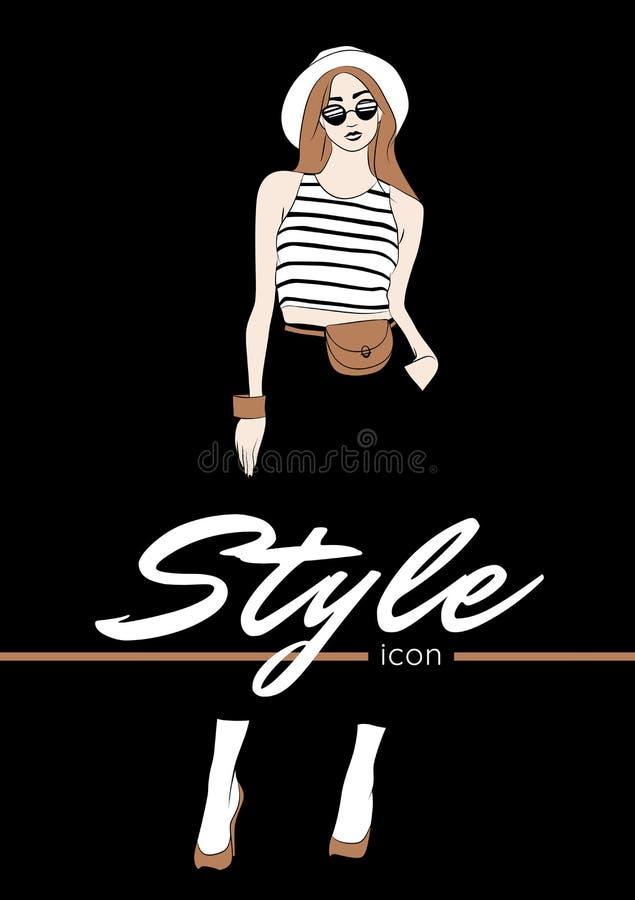 r Женщина в шляпе Панамы, стеклах солнца, белой верхней части с черными нашивками, сумке бомжа, нося высоких накрененных ботинках иллюстрация вектора