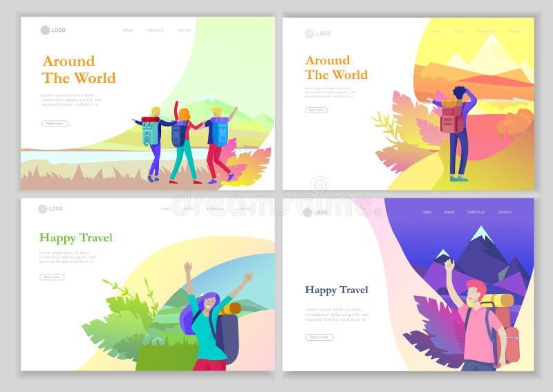 r Женщина характеров людей для пешего туризма и trekking, вектора перемещения праздника, hiker и туризма иллюстрация штока