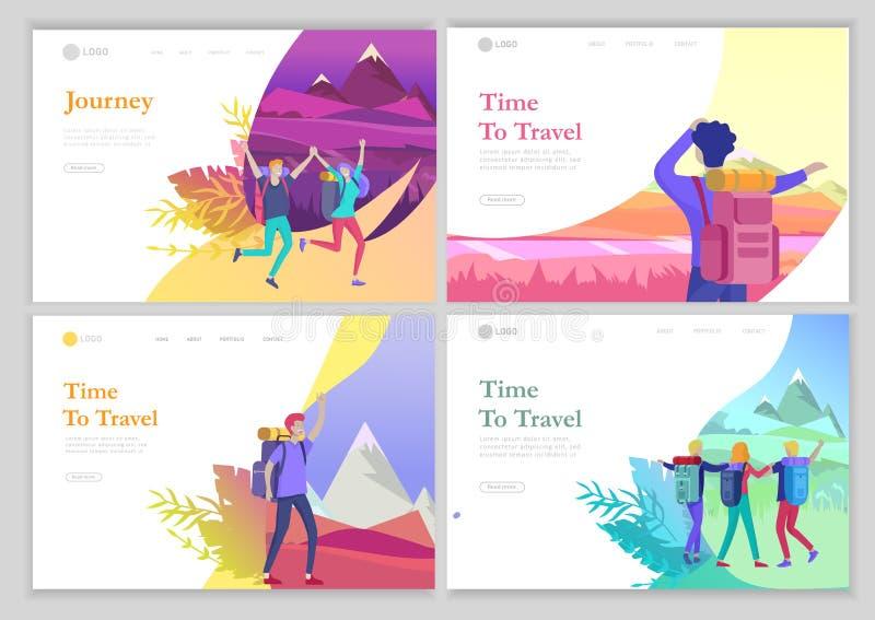 r Женщина характеров людей для пешего туризма и trekking, вектора перемещения праздника, hiker и туризма иллюстрация вектора