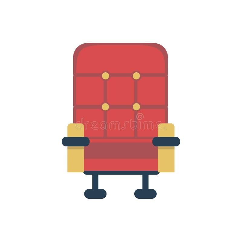 r Значок кресла кино красный иллюстрация вектора