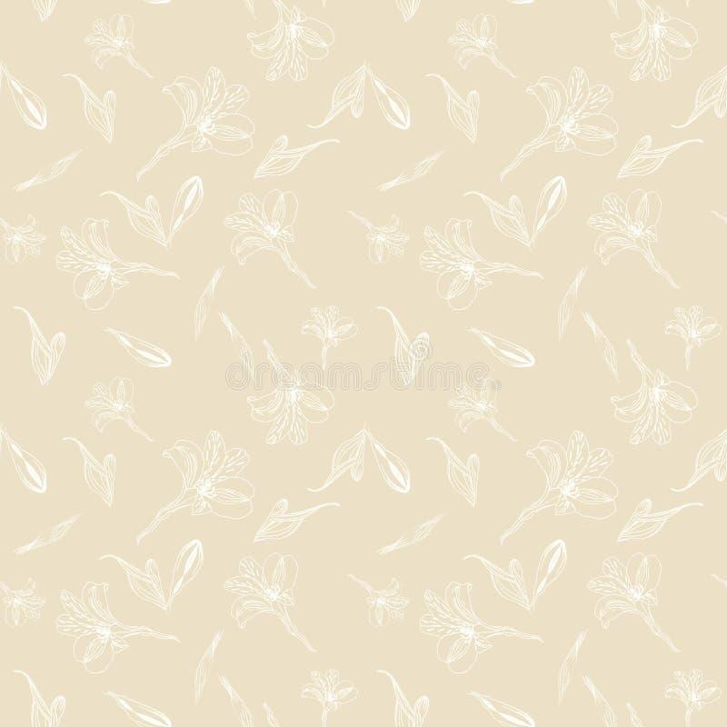r Картина с белыми цветками графиков на бежевой предпосылке Alstroemeria Безшовная картина с иллюстрация вектора