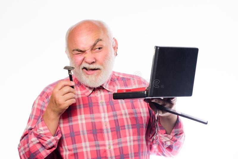 r лезвие бритвы или шевер брить аксессуары небритый усик бритья старика и волосы бороды портативный стоковые фото