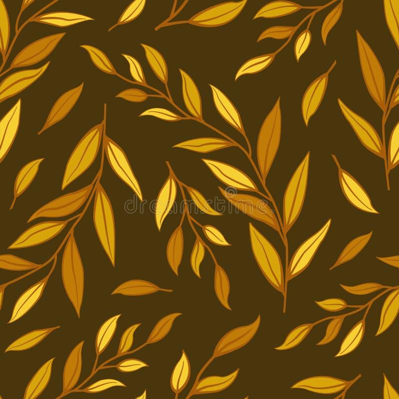 r Листья и ветви осени на коричневой предпосылке бесплатная иллюстрация