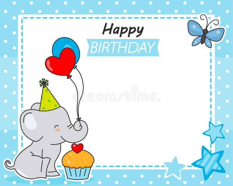 r Милый слон с воздушными шарами и пирожным иллюстрация штока