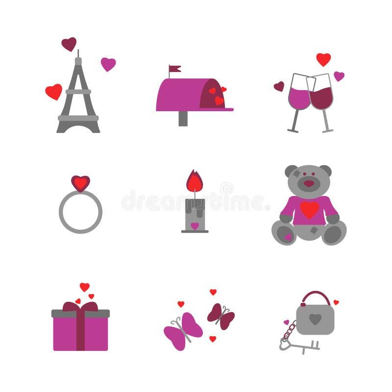 r Набор значков дня Святого Валентина иллюстрация вектора