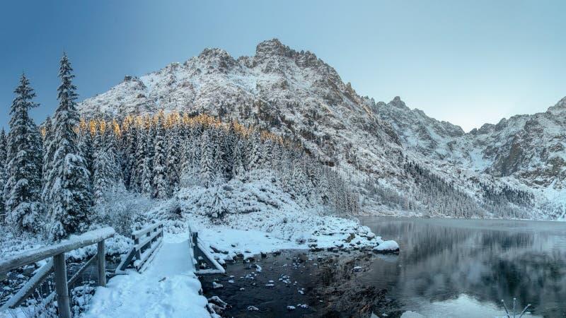 r Озеро горы льда в скалистых снежных горах Ландшафт природы зимы Горы пейзажа и ледяное озеро стоковая фотография rf