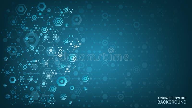 r Предпосылка конспекта геометрическая будущая Научная и технологическая концепция Накаляя красочные шестиугольники иллюстрация вектора