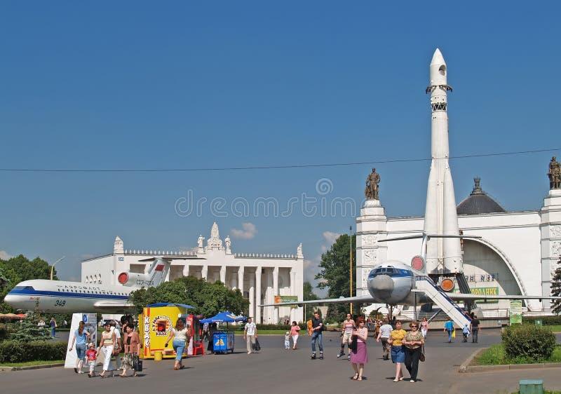 r Район около павильона космоса ENEA центра выставки Все-России стоковое фото