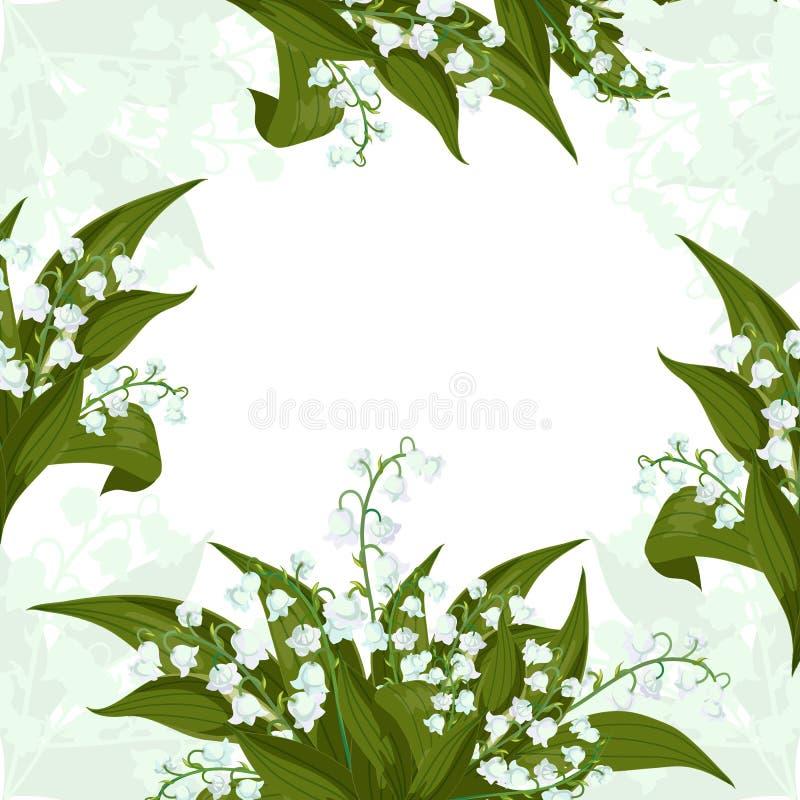 r Рамка с Lilly долины - колоколами в мае, majalis Convallaria с зелеными листьями иллюстрация вектора