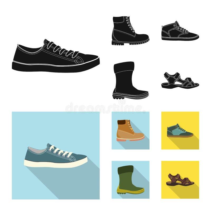 r Собрание сокращенного названия выпуска акций ботинка и ноги для сети иллюстрация вектора