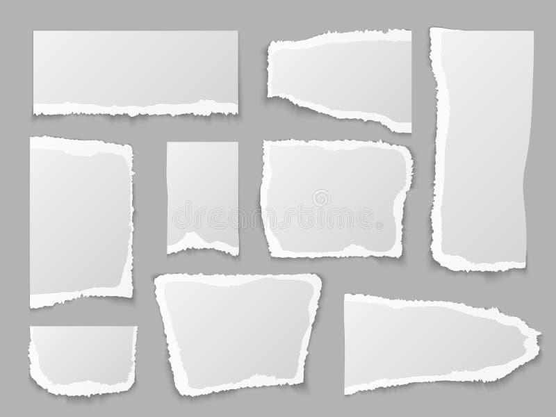 r Сорванные части бумаг, зернистая страница утиля Пустые края сообщения Скомканное примечание, набор вектора ярлыков памятки иллюстрация вектора