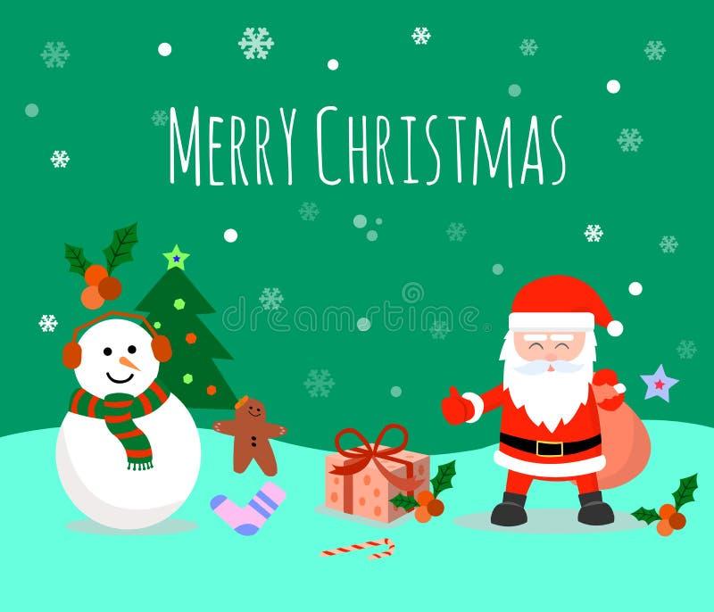 r Товарищи счастливого рождеств Санта Клаус с большой сумкой бесплатная иллюстрация