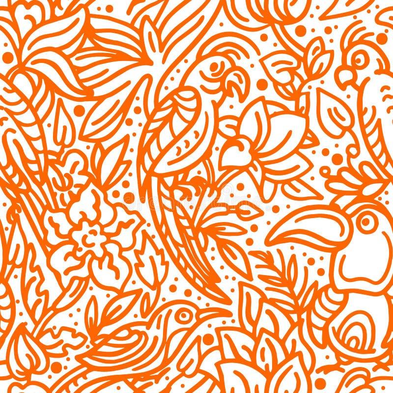 r Тропическая птица, листья, цветок Иллюстрация эскиза искусства иллюстрация вектора