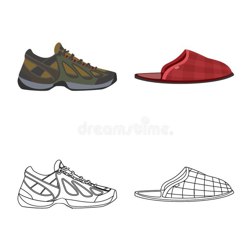 r Установите значка вектора ботинка и ноги для запаса иллюстрация вектора