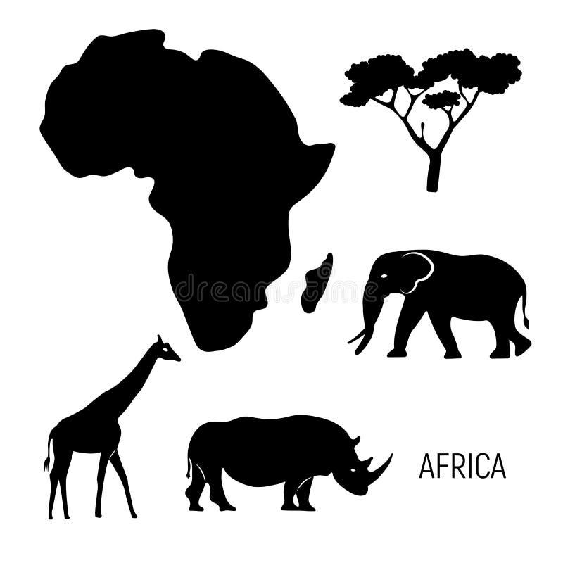 r Черно-белая карта континента с силуэтами диких животных - слона Африки, носорога, жирафа Eco иллюстрация штока