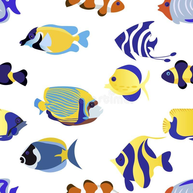r Экзотические рыбы установили животную иллюстрацию вектора плоско бесплатная иллюстрация