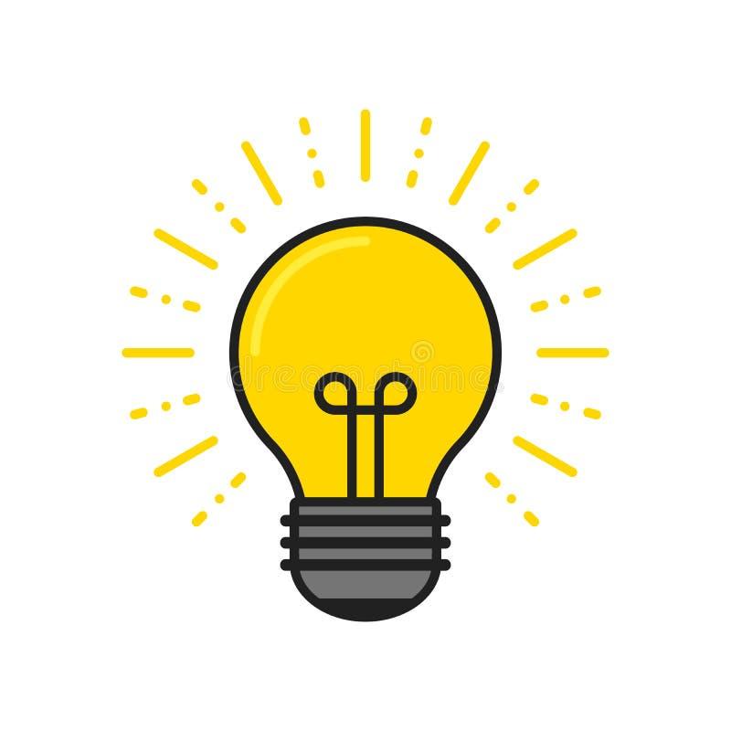 r Электрическая лампочка с блеском лучей Символ энергии и идеи иллюстрация вектора
