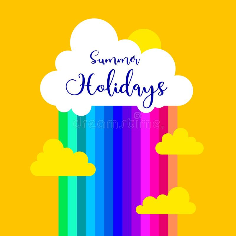 r Элементы вектора для поздравительной открытки, приглашения, плаката, дизайна футболки облако, дождь, радуга, лето иллюстрация вектора