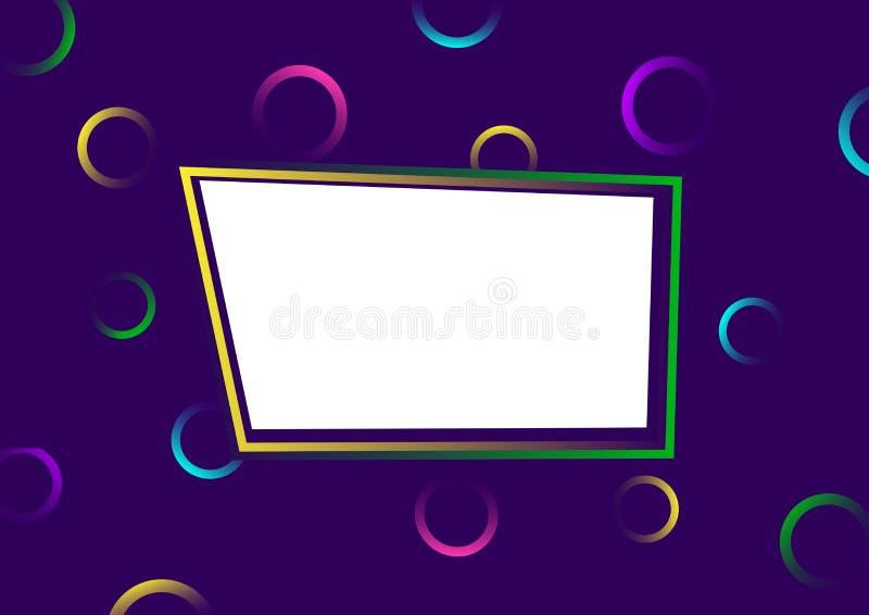 r Яркие красочные круги с градиентом на пурпурной предпосылке с рамкой для вашего текста r иллюстрация вектора