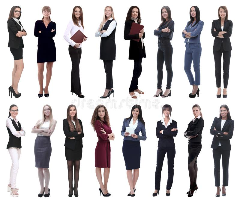 r 一个小组的拼贴画成功的年轻女商人 免版税库存照片