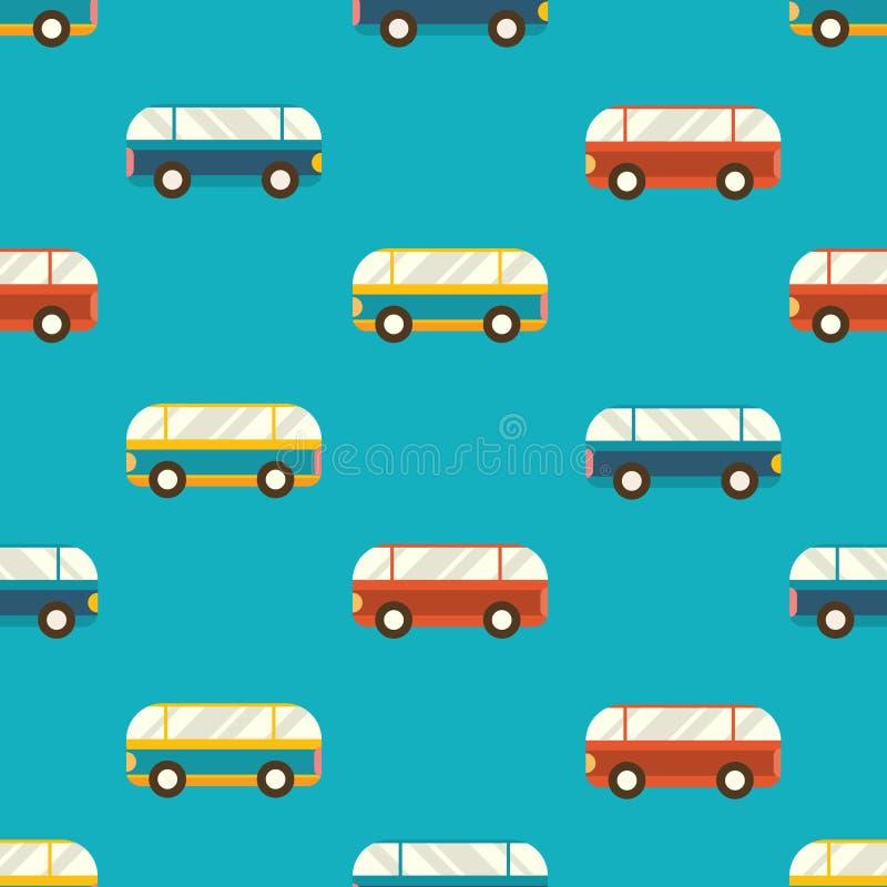 r 与五颜六色的公共汽车的无缝的样式 皇族释放例证