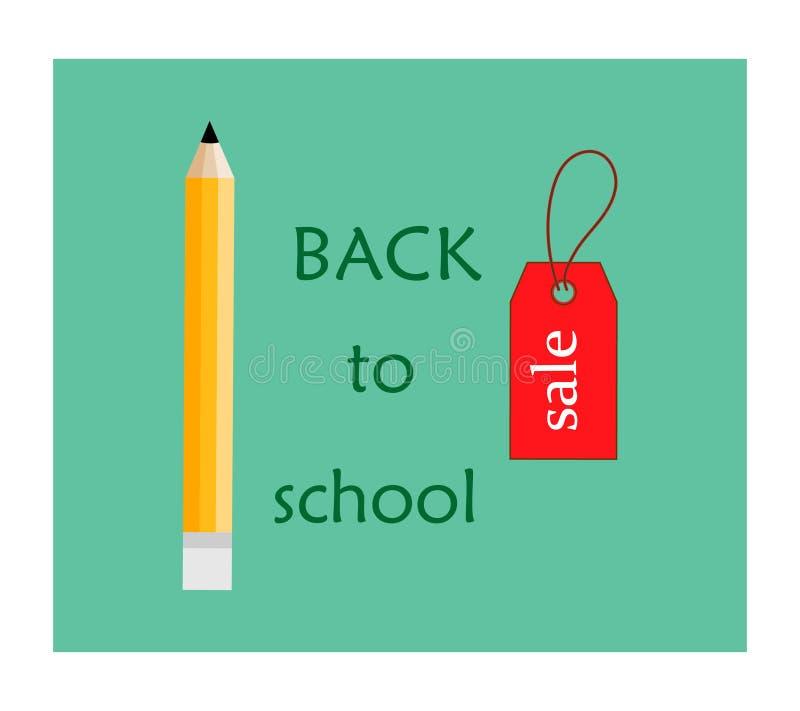 r 与五颜六色的学校pensils的传染媒介compocition和红色销售teg在白色背景中 库存例证