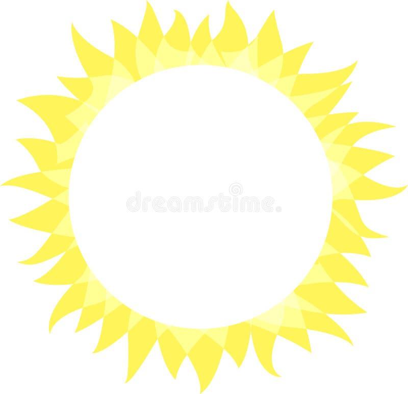 r 与光芒的晴朗的明亮的圈子形状 夏天明亮太阳亮光,平的简单的商标模板,构思设计 库存例证