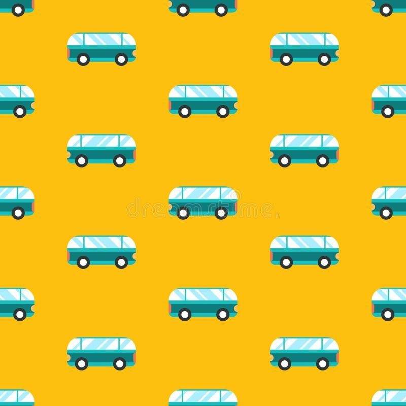 r 与公共汽车的无缝的样式在黄色背景 库存例证