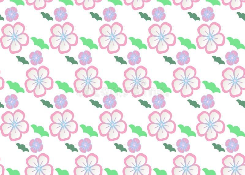 r 与日本花卉纹理淡色的传统日本刺绣装饰品印刷品的 向量例证