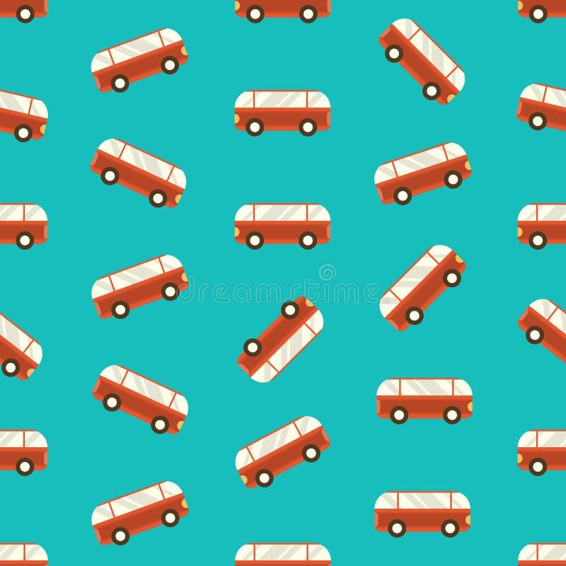 r 与红色公共汽车的无缝的样式在蓝色背景 库存例证