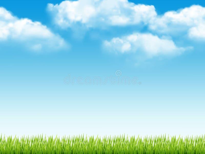 r 与绿草天空蔚蓝的新背景与云彩梦想领域传染媒介现实无缝的样式 皇族释放例证