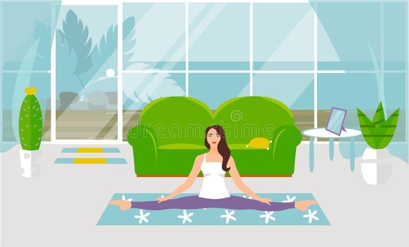 r 与麻线的Asanas在瑜伽 做舒展的美丽的年轻女人体操 向量例证