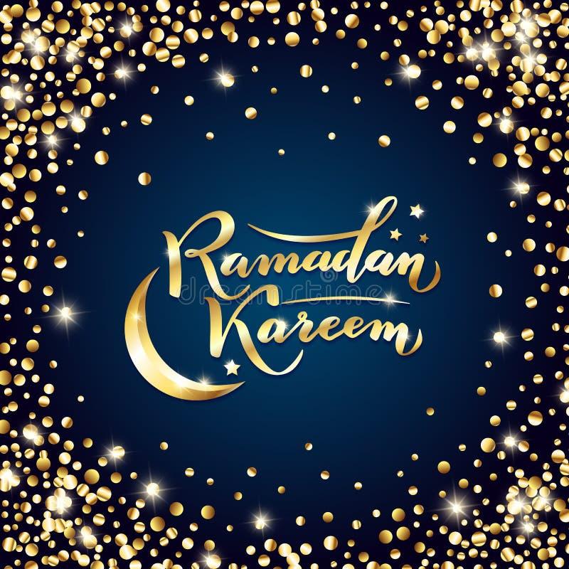 r 伊斯兰教的斋月Kareem问候被隔绝的金字法文本,月亮,在夜蓝色背景的星 库存例证