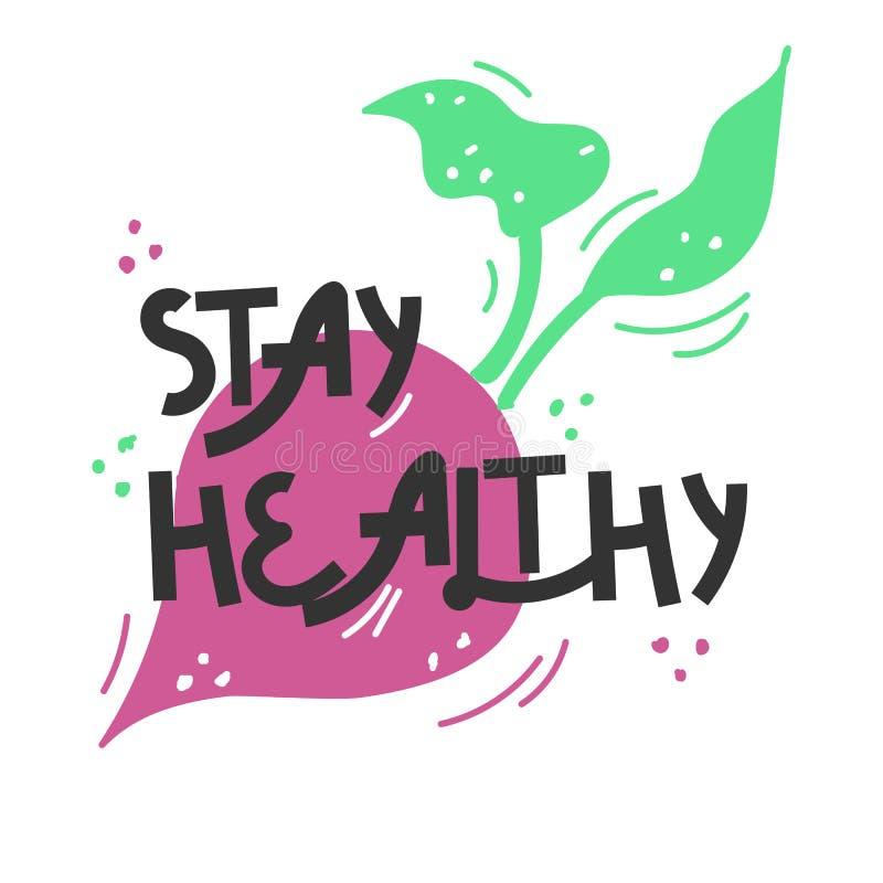 r r 关于健康吃的行情 对海报、T恤杉,明信片等 向量例证