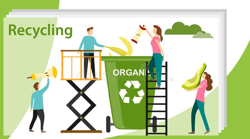 r r 回收垃圾元素垃圾袋轮胎 皇族释放例证