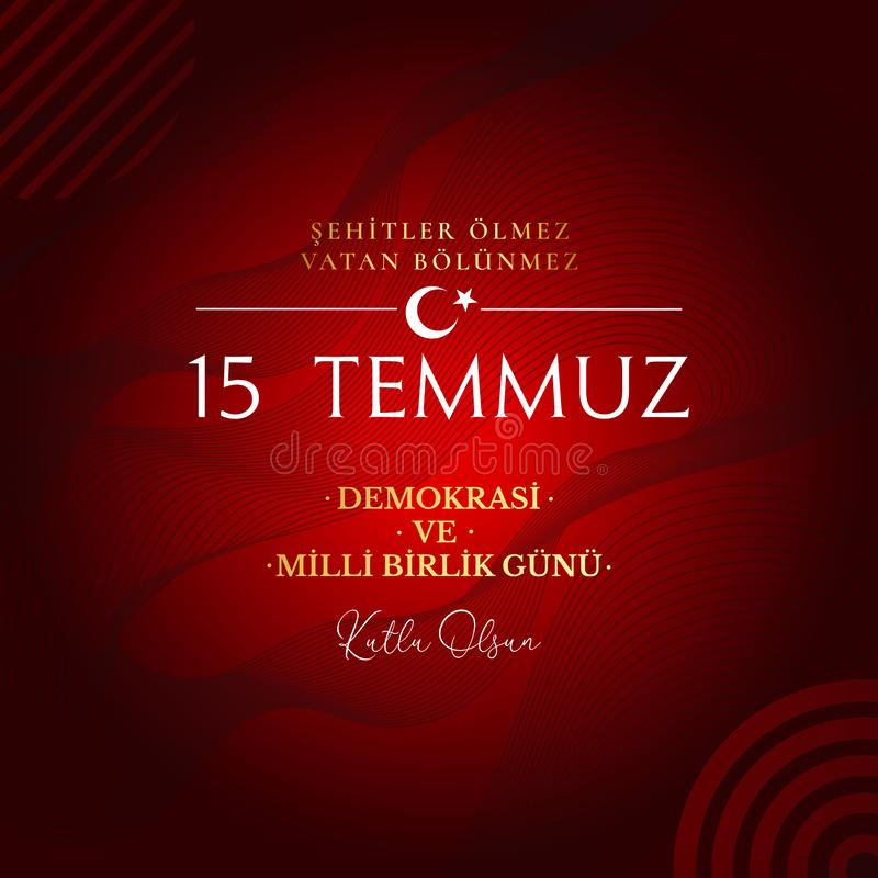 r 土耳其假日 从土耳其语的翻译:民主和民族团结天土耳其、退伍军人和小店 库存例证