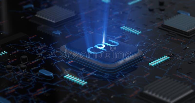 r 在主板的发光的CPU ?? 向量例证