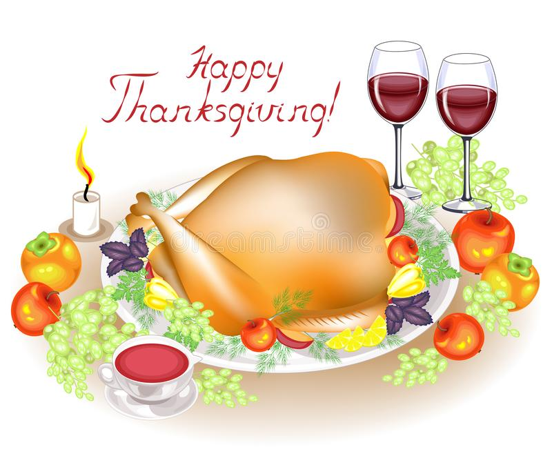 r 在桌、一只可口烘烤火鸡、苹果、胡椒和调味汁上 两杯酒、果子和一个蜡烛 皇族释放例证