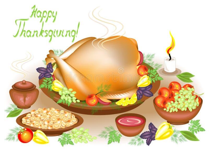 r 在桌上、一只可口烘烤火鸡、果子、苹果、蘑菇、胡椒和调味汁、果子和一个蜡烛 ?? 向量例证