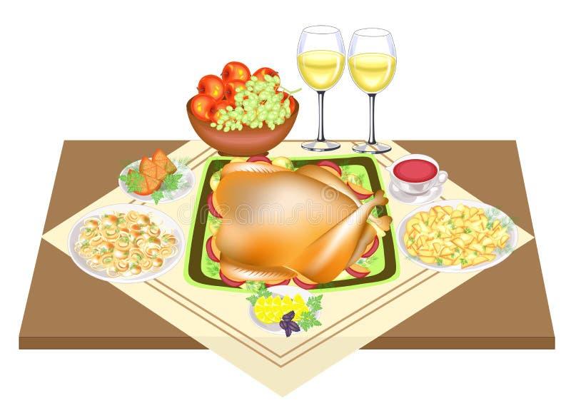 r 在桌上是可口烘烤火鸡、两杯酒,果子、苹果、蘑菇、胡椒和调味汁 r 向量例证