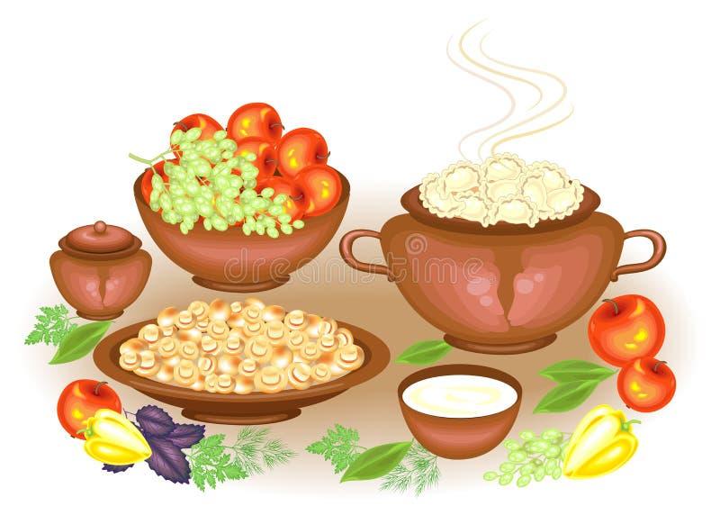 r 在欢乐富有的桌vareniki,酸性稀奶油,采蘑菇果子,苹果,葡萄,绿色,胡椒 ?? 库存例证