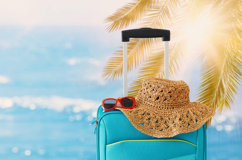 ?? r 在热带背景前面的蓝色手提箱 免版税库存照片